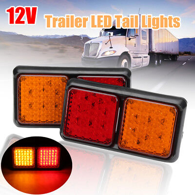 2x TRAILER TAIL STOP LIGHT LED LAMPS 72 LEDS UTE INDICATOR TRUCK LORRY 12 VOLT !