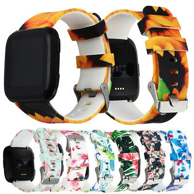 For Fitbit Versa Replacement Floral Pattern Silicone Strap Wristband Watch Band