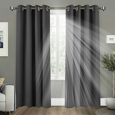 2X Thermal Blackout Curtains Door Curtain Ready Made Eyelet Top W/ Tie Backs Set