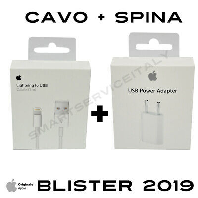 Carica Batteria ORIGINALE + Cavo Apple Lightning ORIGINALE iPhone 6 S 7 8 X XS