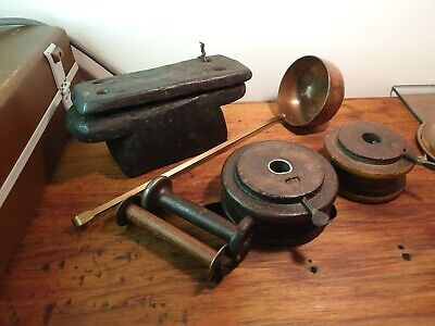 Collectable group lot copper and brass laddle, spools & some sort of wooden box
