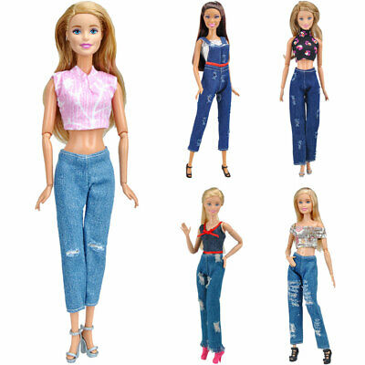 Fashion Doll Clothes Handmade Summer 5 Tops+ 5 Pants Outfit for 30cm Barbie Doll