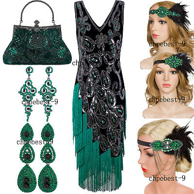Vintage 1920s Flapper Dress Gatsby Charleston Cocktail Prom Dresses Sequin Party