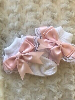 White Baby Girls Lace Frill Socks Pink Ribbon Trim with Bows Size Child 9-12