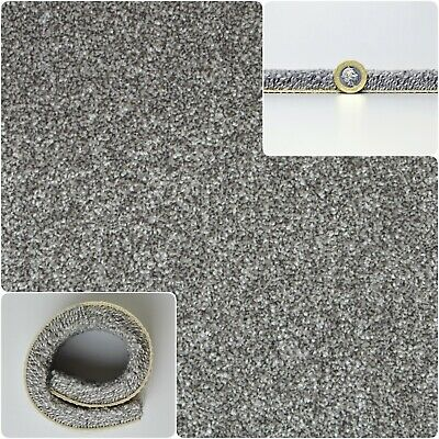 THICK & DENSE PILE Grey SAXONY Cut Pile Action Back 5m Wide Carpet £16.99Sqm