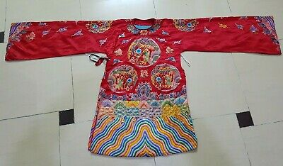 Antique Chinese Robe Hand Embroidery Metal Threads (Y146)