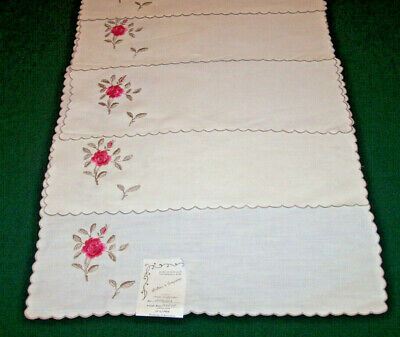 12 VINTAGE MADEIRA LINEN PLACEMATS, ROSE EMBROIDERY W/ TAG: Hahne & Co. PRISTINE