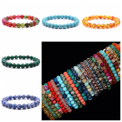Handmade 8mm Mixed Natural Gemstone Chip Beads Stretchy Bracelet Healing Reiki