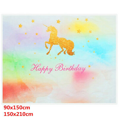 3x5ft 5x7ft Unicorn Star Birthday Baby Photography Photo Background Backdrop CA