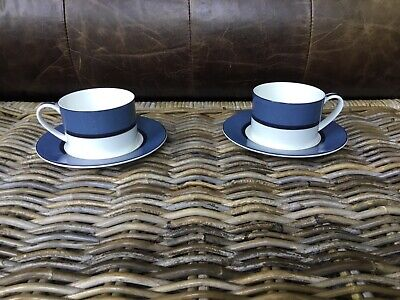 Marks And Spencer Manhattan Cups And Saucers X 2 In Blue