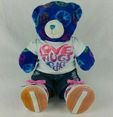 Build A Bear Royal Blue Peace Love Hugs Bear + Full Outfit And Skechers Shoes!