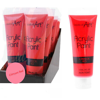 Crimson Red Acrylic Paint 120 ML Non Toxic Colour Crafts Artists Painter Work of