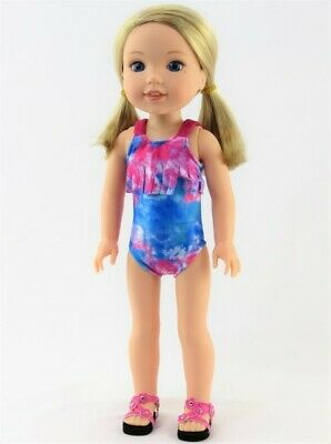 """Swimsuit for 14.5/"""" Wellie Wishers doll clothes by TKCT blue silver diamonds"""