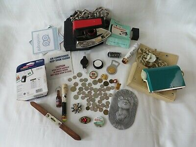 Vintage Antique Junk Drawer Lot Jewelry,iron,Coins,COLLECTABLES