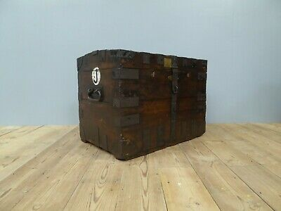 Early Antique Vintage Oak & Iron Silver Chest Trunk Box Blanket Coffee Table