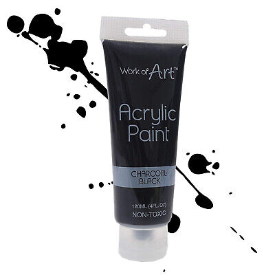 Charcoal Black Acrylic Paint 120 ML Non Toxic Colour Crafts Artists Painter Work