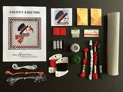 "Ann Strite-Kurz Needlepoint Canvas Kit ""Frosty Friends""/SG/Threads/Beads/Needles"