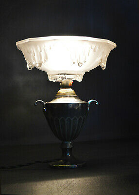Vintage Edwardian silver plated lamp French Ezan Opalescent icicle glass shade