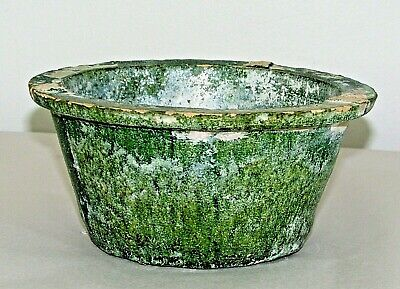 """Chinese Han Tomb Burial Pottery Pot Green Glaze Ware / c.210 AD / 3"""" h x 6.25"""" d"""