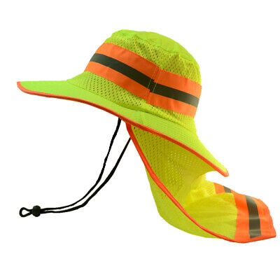 Hi Vis Reflective Safety Work Breathable Green Bucket Cap Neck Flap Boonie Hats