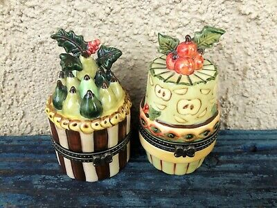 Villeroy & Boch Germany Set Of 2 Small Apple &Pear Cake Fine China Trinket Boxes