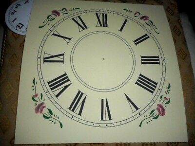 "Square Paper Clock Dial- 9"" M/T-Roman -Floral Corners- Cream- Face/ Parts/Spares"