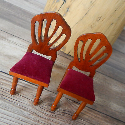 """Vintage Miniature Dollhouse Wooden Chairs Padded Seat Set of 2 1:12 Scale 3.5"""""""