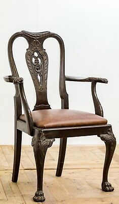 Antique Set of 19th Century Carved Mahogany & Leather Dining Chairs