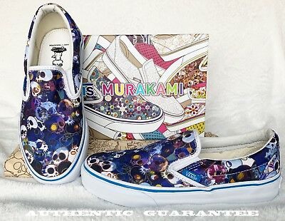 AUTHENTIC VANS Takashi Murakami Classic Slip On Blue Skulls woman Sz 6.5 shoes