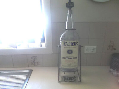 Teachers Scotch Whiskey Metal Display Stand And Large Bottle