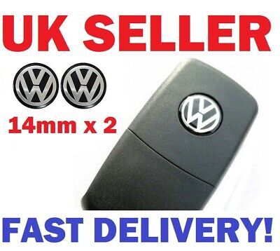 2x Black//Blue Or RED Car Key Fob Emblem Badge Sticker Replacement Volkswagen UK