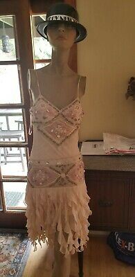 Sue Wong Peach Shells Beaded Embroidered Sheer Layers Unique Dress 0