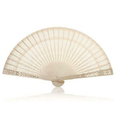 Charmed Chinese Sandalwood Wooden Openwork Personal Hand Held Folding Fans GL