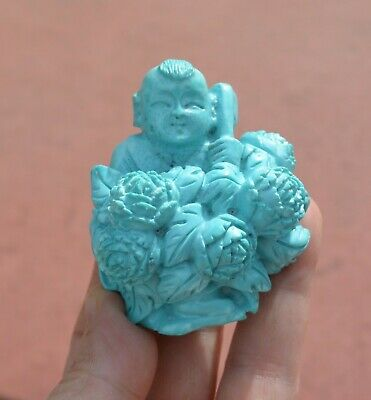 Vintage Chinese Turquoise Carved Carving Boy Figure Figurine Flower Wood Stand