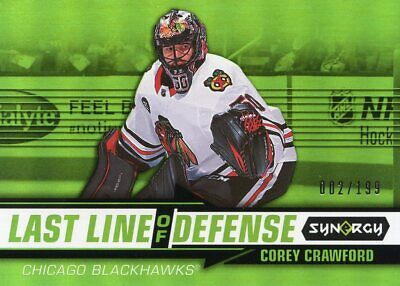 2018-19 Upper Deck Synergy Last Line Of Defence Green Corey Crawford #002/199