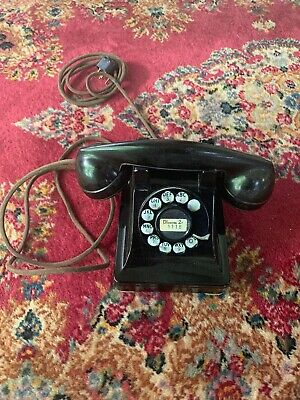 Vintage 1940s Black Rotary Dial Desk Phone Western Electric 302 Telephone