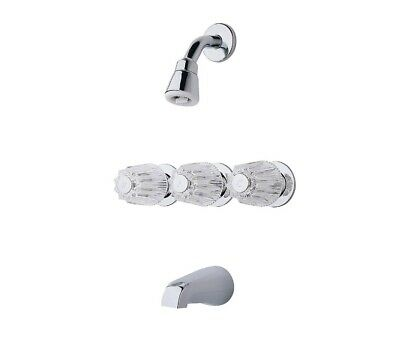 Pfister 3-Handle Tub and Shower Faucet w/ Metal Verve Knob Handles in Chrome