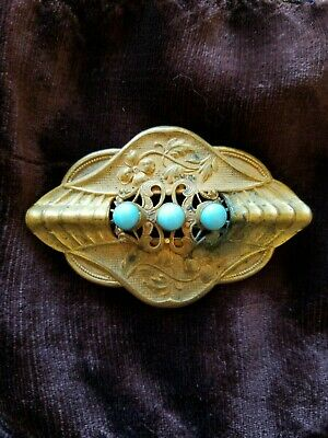 Antique Vintage Art Deco Egyptian Revival Pin Brooch Brass Turquoise Color Cabs