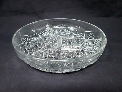 *Relish Dish DAISY & BUTTON 3 Part Divided  French Crystal Luxhem Veropa France