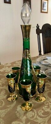 On Sale Murano Glass- 24 Kt Gold- 5Glass Liquor Set- Hand Painted- Made In Italy