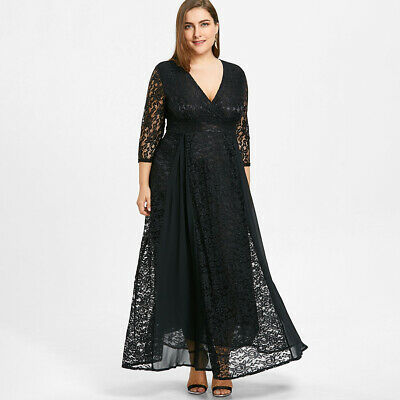 Women Hollow Out Floral Lace Dress Big Size V neck Layered Maxi Dress Elegant