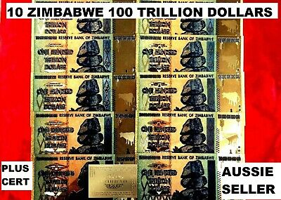 10 x ZIMBABWE 100 TRILLION BANKNOTES 24K GOLD COLOURED 2008 NOTE  + g cert