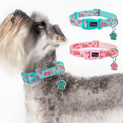 Floral Nylon Dog Collars and Personalized Glitter Paw Tags Anti-lost Pink S M L