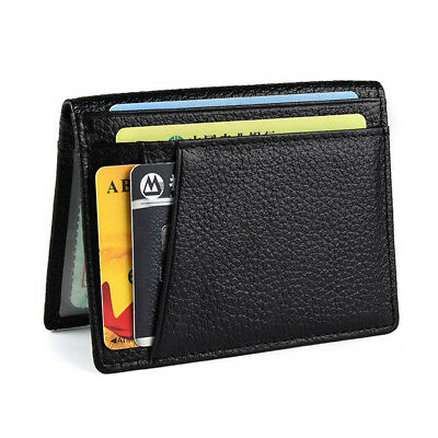 Leather Wallet Vintage Money Card Purses Male Wallets Thin Men's gy7vYb6f