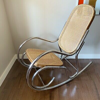 Bentwood Woven Cane Chrome Metal Rocking Chair Rocker MCM Mid Century Vintage