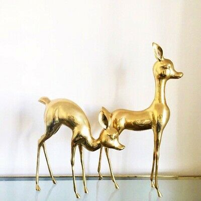"Vintage Set Of Mid Century Brass Deer Figures Statue Pair Large 23"" & 16"" Tall"