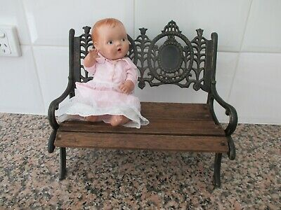 Vintage victorian style doll toy chair seat lounge - old antique cast iron