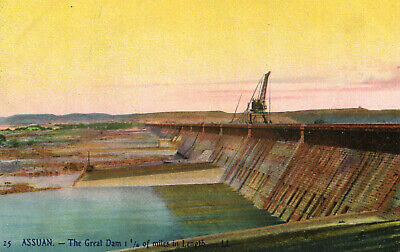 Carte EGYPTE ASSOUAN ASSUAN The Great Dam 1 1/4 of miles in Length Barrage