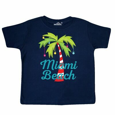 Inktastic Miami Beach Christmas Toddler T-Shirt Florida Palm Tree Decorated Cute