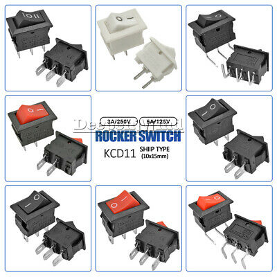 1/5/10PCS KCD11 Rocker Boat Switch 10*15MM 6A125V Terminals ON/OFF 2/3PIN 3A250V